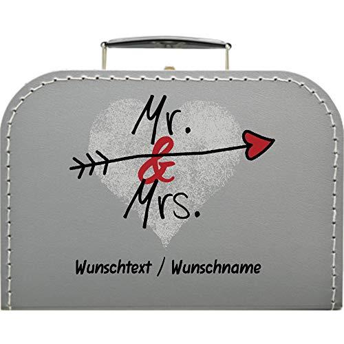 Hochzeitskoffer Mr & Mrs mit Herz + Pfeil, mit Wunschtext, Pappkoffer Koffergröße 20 x 14,5 x 8 cm, Farbe Silber
