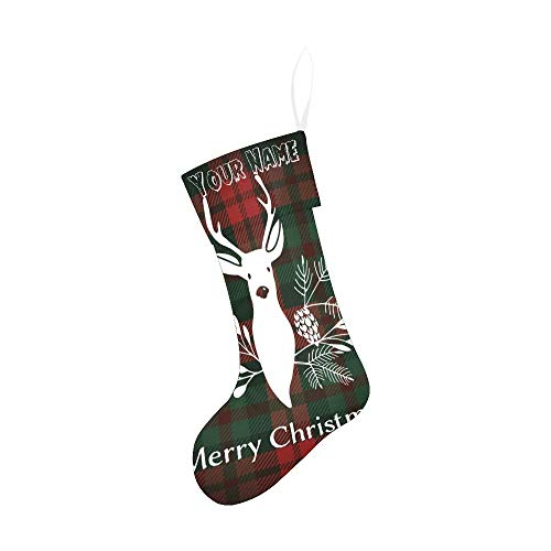 CUXWEOT Personalized Christmas Stocking with Name Custom Merry Christmas Reindeer Florals for Xmas Party Decoration Gift 17.52 x 7.87 Inch