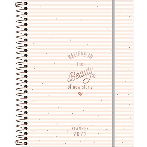 Planner Espiral 17,7 x 24 cm Soho 90 Grande 2022 - Estampa Listras rosinhas - new dreams - Tilibra