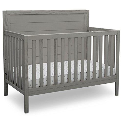 Delta Children Farmhouse 4-in-1 Convertible Baby Crib, Rustic Haze (Grey)