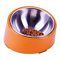 Orange Short Nose Breeds dog bowl, tilted for dogs like  shih tzus, pugs, bulldogs, French bulldog