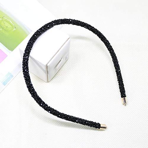 Xiaojie Diadema para el pelo con cuentas de cristal, hecha a mano, accesorios para el cabello, diadema de flores de perlas (color negro)
