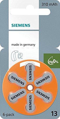 Siemens Zink Luft Hörgerät Batterien, Größe 13(orange)–60Zellen