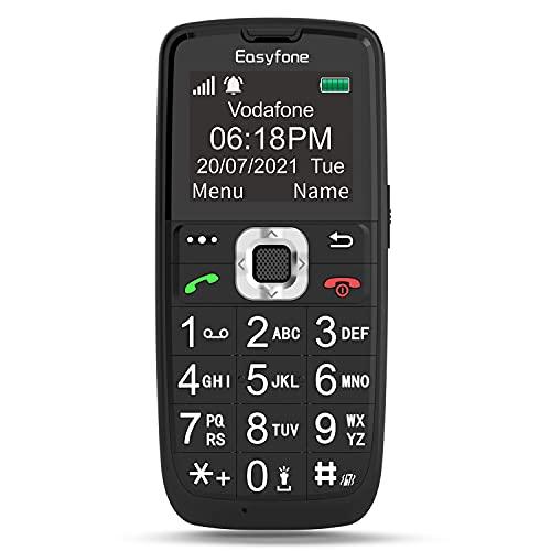 Easyfone Prime-A6 GSM Telefono Cellulare per Anziani con Tasti Grandi, Funzione SOS, Batteria di grande con base di ricarica, Nero