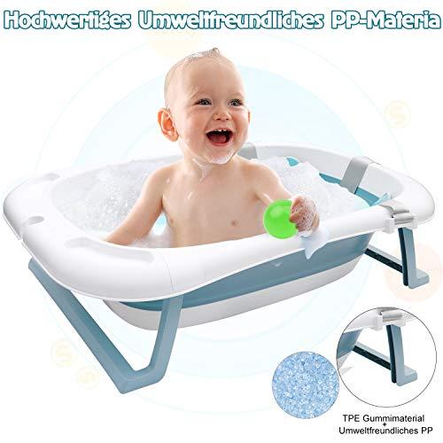 TTSkying Ergonomische Babybadewanne Kinderbad mit Sicherheitsbadesitz faltbare Babybadewanne Badewanne für Babys, Kunststoff, Hellblau