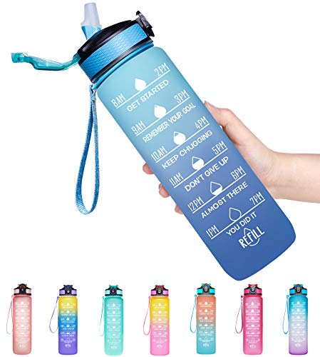 Giotto 32oz Large Leakproof BPA Free Drinking Water Bottle with Time Marker & Straw to Ensure You Drink Enough Water Throughout The Day for Fitness and Outdoor Enthusiasts-Ombre Navy Green