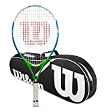 Wilson US Open 23 Junior Tennis Racquet Bundled with a Black/White Wilson Advantage II Tennis Bag (Perfect for Girls Age 7-8)
