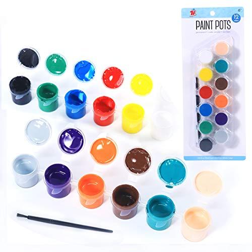TBC The Best Crafts 12 Colors Acrylic Paint Pots Set, for Outdoor Paint,Finger Paint, Basic Art Supplies