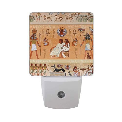 AOTISO Altes ethnisches ägyptisches Ägypten Nachtlicht, Auto Sensor Dämmerung bis Morgengrauen Nachtlicht für Badezimmer Schlafzimmer Flur Dekor (1 Pack)