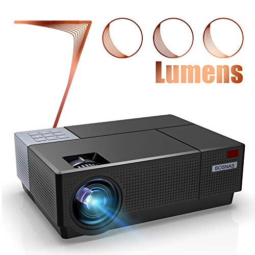 Beamer Full HD, BOSNAS Native 1080P LED Projektor 7000 Lux Unterstützt 4K und Dolby-Sound, 4D ±45° Elektronische Korrektur, 300'' Heimkino Beamer Kompatibel mit TV Stick PS4 Xbox Laptop Smartphone