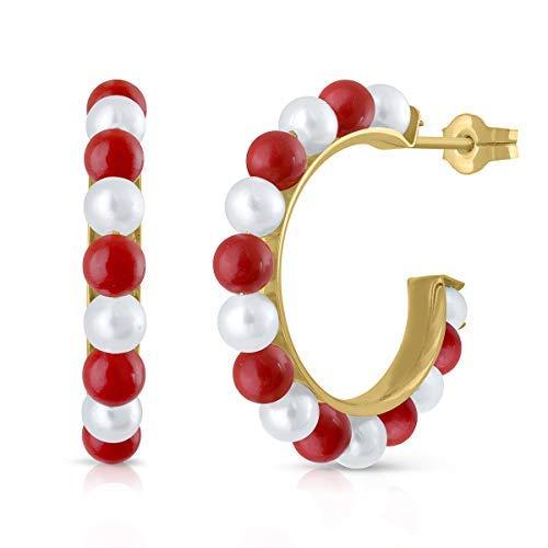 Pendientes oro 18k niña o mujer, aros argolla con perla cultivada de calidad, coral o turquesa. Medida de la joya 15 milímetros y cierre de presión, Elija su diseño preferido. (PERLA-CORAL)