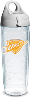 """Tervis """"NBA Okc Thunder N Or"""" Water Bottle with Grey Lid, Emblem, 24 oz, Clear"""