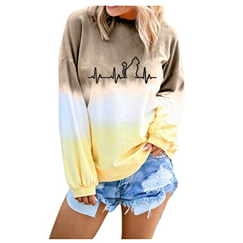 Dasongff T-shirt à manches longues pour femme Dégradé de couleurs Décontracté Sweatshirt à manches longues Col rond Chemisier de dating Tops Hauts T-shirts Fahsion Pulli S-5XL - Beige - Taille Unique