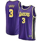 Photo de THDB Maillot de basketball personnalisé Anthony Los Angeles N°3 violet, Lakers Davis Youth 2020 Finales Champions Fast Break Réplique du maillot respirant pour enfants