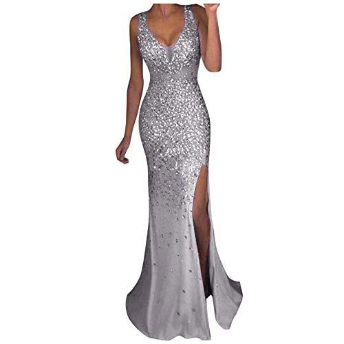 Qigxihkh Damen Pailletten Prom Party Ballkleid Sexy Gold Abend Brautjungfer V-Ausschnitt Langes Kleid(Silber, M)