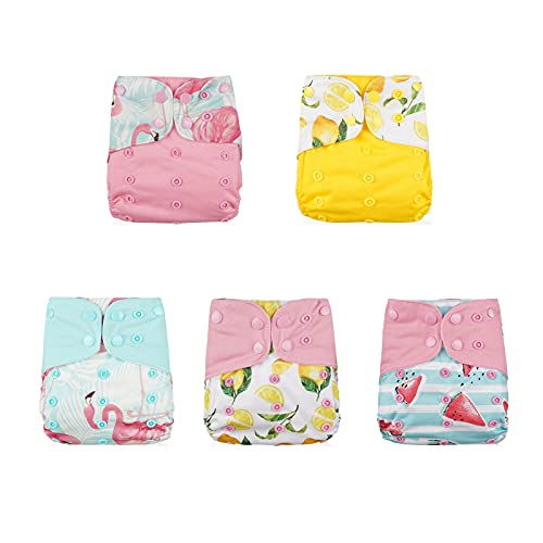 Pocket Cloth Diapers One Size by LUA Earth & Baby Care | Washable, Waterproof, Reusable, Adjustable | Fits Babies 8 to 35 Pounds | 5 Cloth Pocket Diapers | 5 Microfiber Inserts (Tropical)