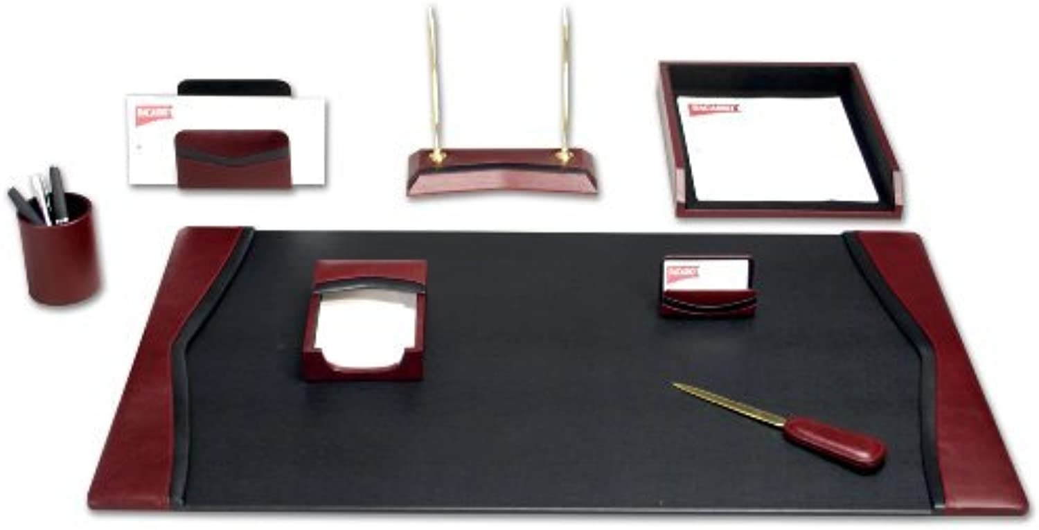Dacasso Burgundy Leather Desk Set, 8Piece by Dacasso
