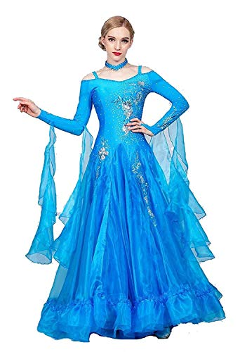 Fhxr Vestido de baile de saln estndar nacional para mujer, traje de danza moderna, vestido de vals de baile social (color azul lago, tamao: XXL)