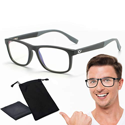 O³ Lunette Anti Lumiere Bleue-Blue Light Glasses-Lunettes de Repos Adulte-Lunettes Gaming Homme Femme (Noires et Grises)