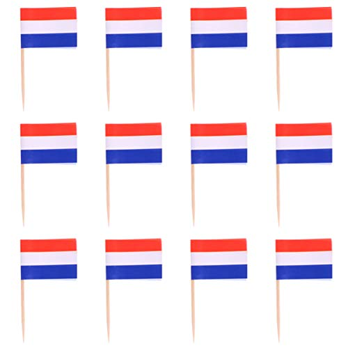 WINOMO 200Pcs Nederland Vlag Nederlandse Tandenstoker Vlaggen Mini Stok Cupcake Toppers Nederlandse Vlaggen Land Picks…