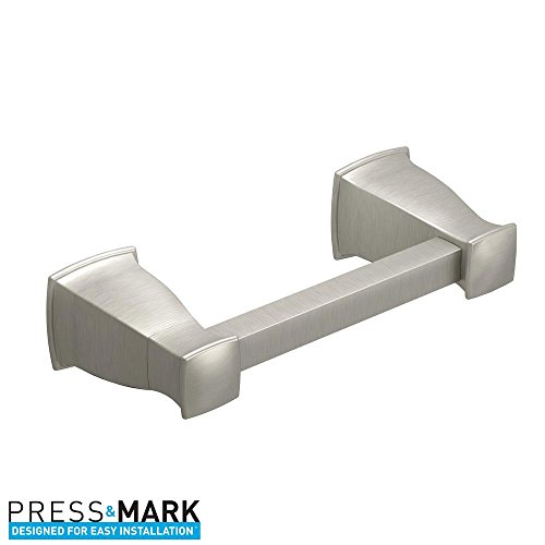 MOEN Hensley Pivoting Double Post Toilet Paper Holder with Press and Mark in Brushed Nickel