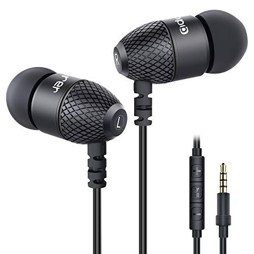 Adorer EM10 - Auriculares in-ear potentes con micrófono y control de volumen, aislamiento de ruido negro