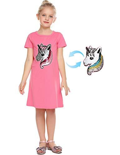 Bricnat Mädchen Einhorn Kleid Glitzer T-Shirt Kleid Langarm/kurzer Ärmel Kleider Baumwolle Kleid Pailletten Sommer Kleid