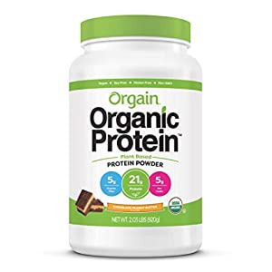 Orgain Organic Plant Based Protein Powder, Chocolate Peanut Butter – Vegan, Low Net Carbs, Non Dairy, Gluten Free, Lactose Free, No Sugar Added, Soy Free, Kosher, 2.03 Pound (Packaging May Vary)