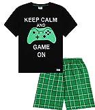 Pijama corto para niños con texto en inglés 'Keep Calm and Game On', de 9 a 14 años, color verde