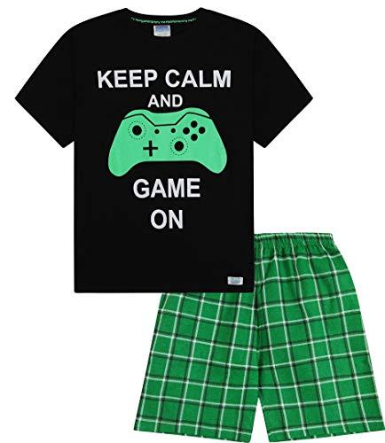 Niños Keep Calm y juego en corto pijama 9–14años verde cuadros