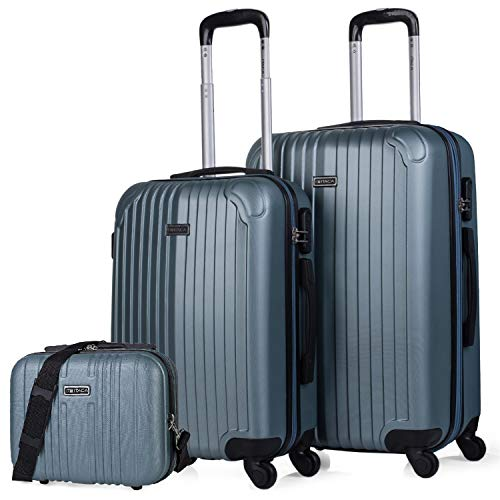 ITACA - Set 2 Suitcases and Beauty case 4 Wheels ABS. Rigid and Lightweight. Padlock. Extensible. Small and Medium T71515B, Color Acquamarine