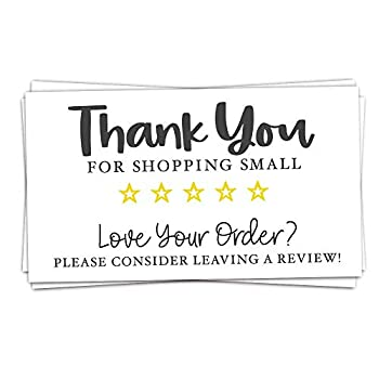 100 Feedback Request Cards - Thank You For Shopping Small - Please Leave Us A Review Package Insert Cards