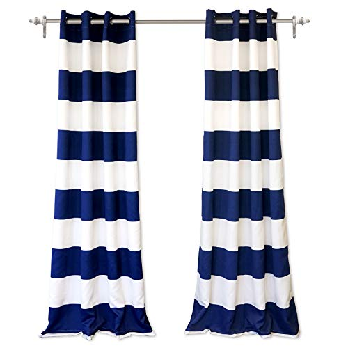 DriftAway Mia Woven Stripe 100 Percent Blackout Thermal Insulated Window Curtain Grommet 2 Panels Each 50 Inch by 84 Inch Navy