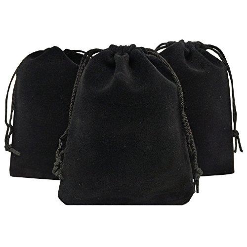 Ankirol 50pcs Velvet Drawstring Bags Jewelry Bags Pouches (Black, 5' X 7')
