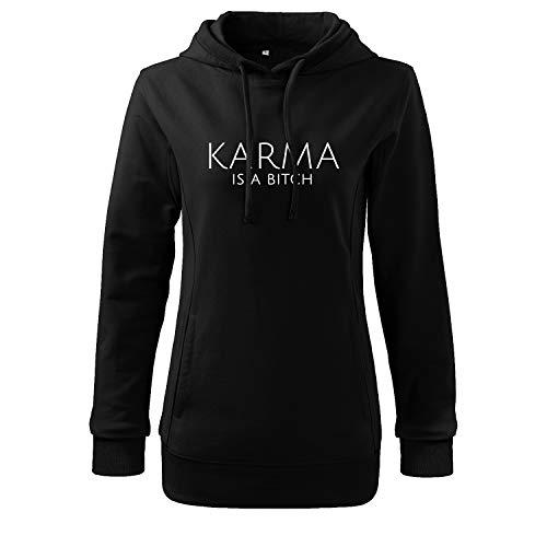 Karma is a Bitch Sweatshirt Bedruckt mit Spruch Casual (425 408 Schwarz XXL)