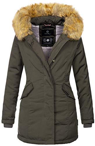 Marikoo Damen Winter Jacke Parka Mantel Winterjacke warm gefüttert B362 [B362-Karmaa-Anthrazit-Gr.M]
