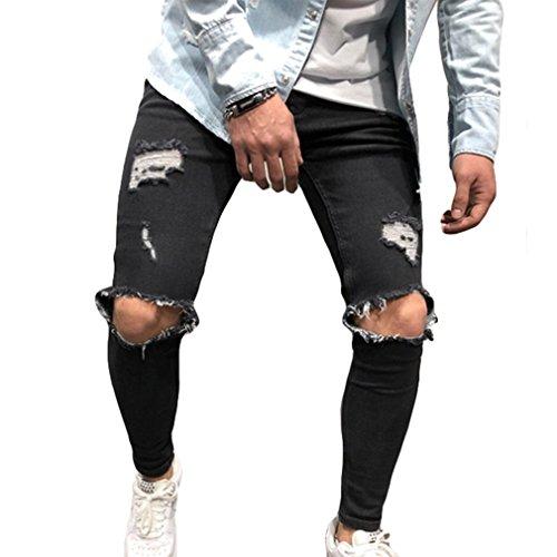 junkai Herren Stretch-Denim Skinny Fit Denim-Hosen Destroyed Ausgefranste Stretch-Zerrissene Knie-Jeans Schwarz M