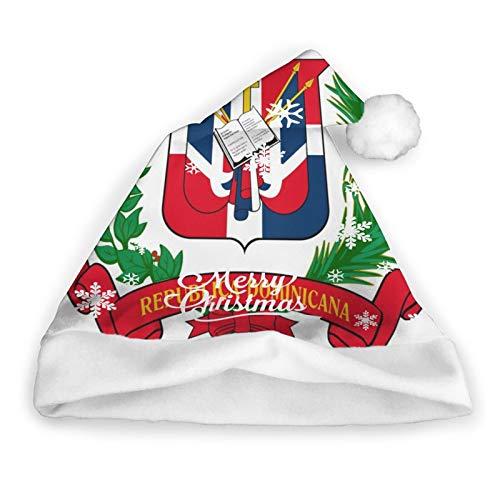 ZVEZVI Repblica Dominicana Santa Hat Christmas Santa Hat Felpa Corta con puos Blancos Gorro navideo de Tela de Felpa para Adultos