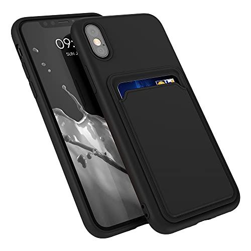 kwmobile Funda con Tarjetero Compatible con Apple iPhone X - Carcasa Protectora de TPU Suave - Negro