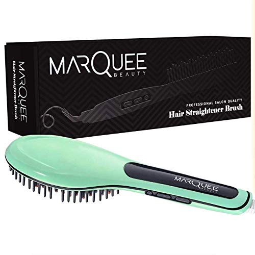 MarQuee Beauty Professional Hair Straightener Brush- 3 in 1 Best Styling Brush for Professional Results - Mint Colored