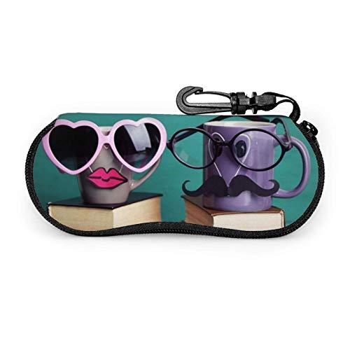 Arvolas Estuche para gafas Cat Is On The Piano Estuche blando para gafas de sol con cremallera de neopreno portátil unisex