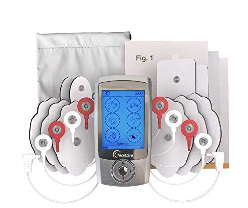 TechCare Pro TENS Unit 24 Modes Best Portable Massager Back Neck Stress Sciatic Pain, Handheld Full Body Palm Plus Digital Pulse Impulse Professional Micro Massager (Silver)
