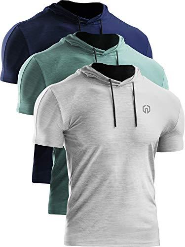 Neleus Men's 3 Pack Dry Fit Running Shirt Workout Athletic Shirt with Hoods,Navy Blue,Light Green,Grey,US S,EU M