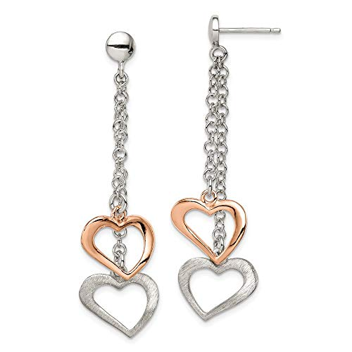 925 Sterling Silver Rose Tone Textured Post Stud Earrings Drop Dangle Love Fine Jewellery For Women Gifts For Her