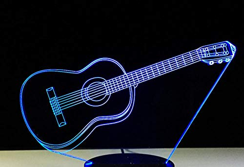 3D Children's Night Light, Guitar Shape, 16-Color dimmable Toy lamp, USB Charging Table lamp, Cracked Base