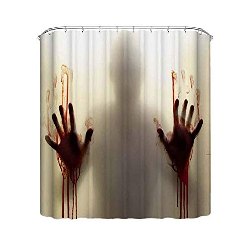 Bloody Handprint douchegordijn Digital 3D Printed Polyester Halloween Shower Curtain Horror Bloody Hands Badkamer douchegordijnen for Halloween Decoratie (Size : 183x198cm)