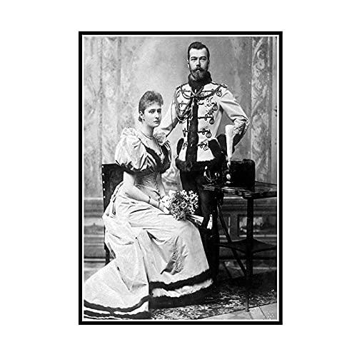 DuanWu Nozze dello zar Nikolai II Alexandrovich Romanov Imperatore di Russia Ritratto Poster da Parete su Tela Pittura Home Decor -50x70 cm Senza Cornice 1 Pz