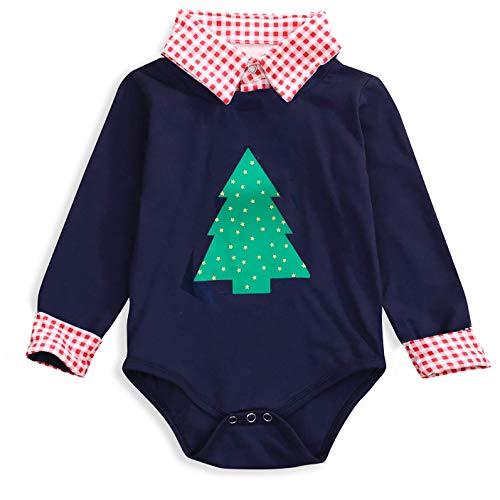 Newborn Baby Boy Girl Christmas Outfit Plaid Stand Collar Shirt Romper Unisex Jumpsuit Bodysuit (Plaid, 0-6 Months)