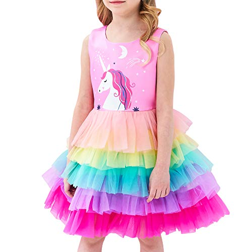Girls Dress Pink Unicorn Ruffle Rainbow Cake Skirt Size 4