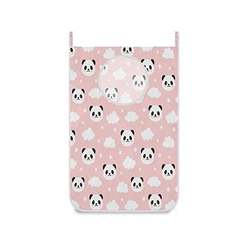 Cesta de lavandería colgante con diseño de oso panda con diseño de estrellas, color rosa y rosa